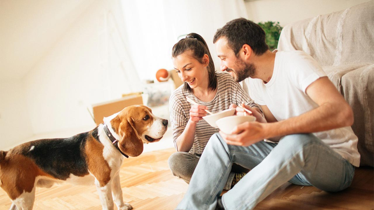 A young woman sitting on the floor of her apartment casually eating food with a young man while their dog looks on