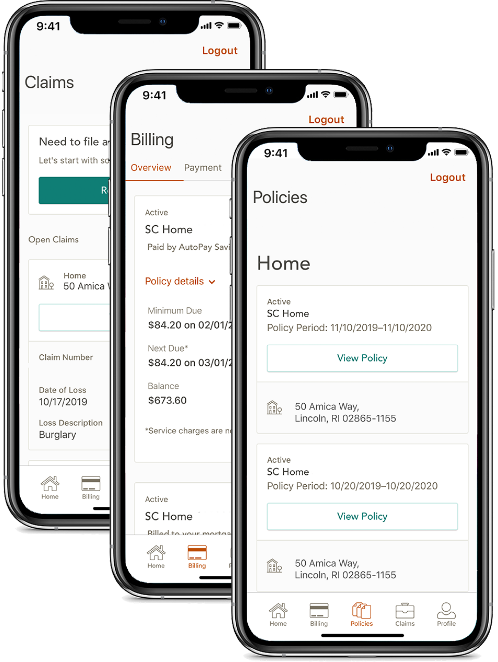 File claims, pay bills and view policies on the Amica mobile app
