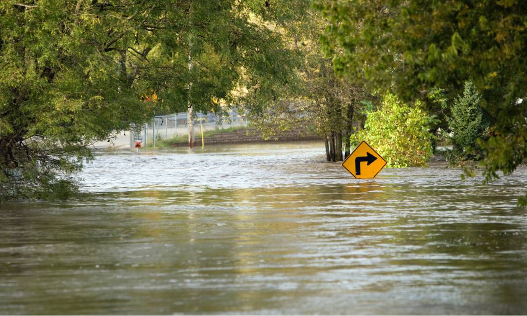 A flooded street: even if you don't live in a flood zone, consider having this coverage